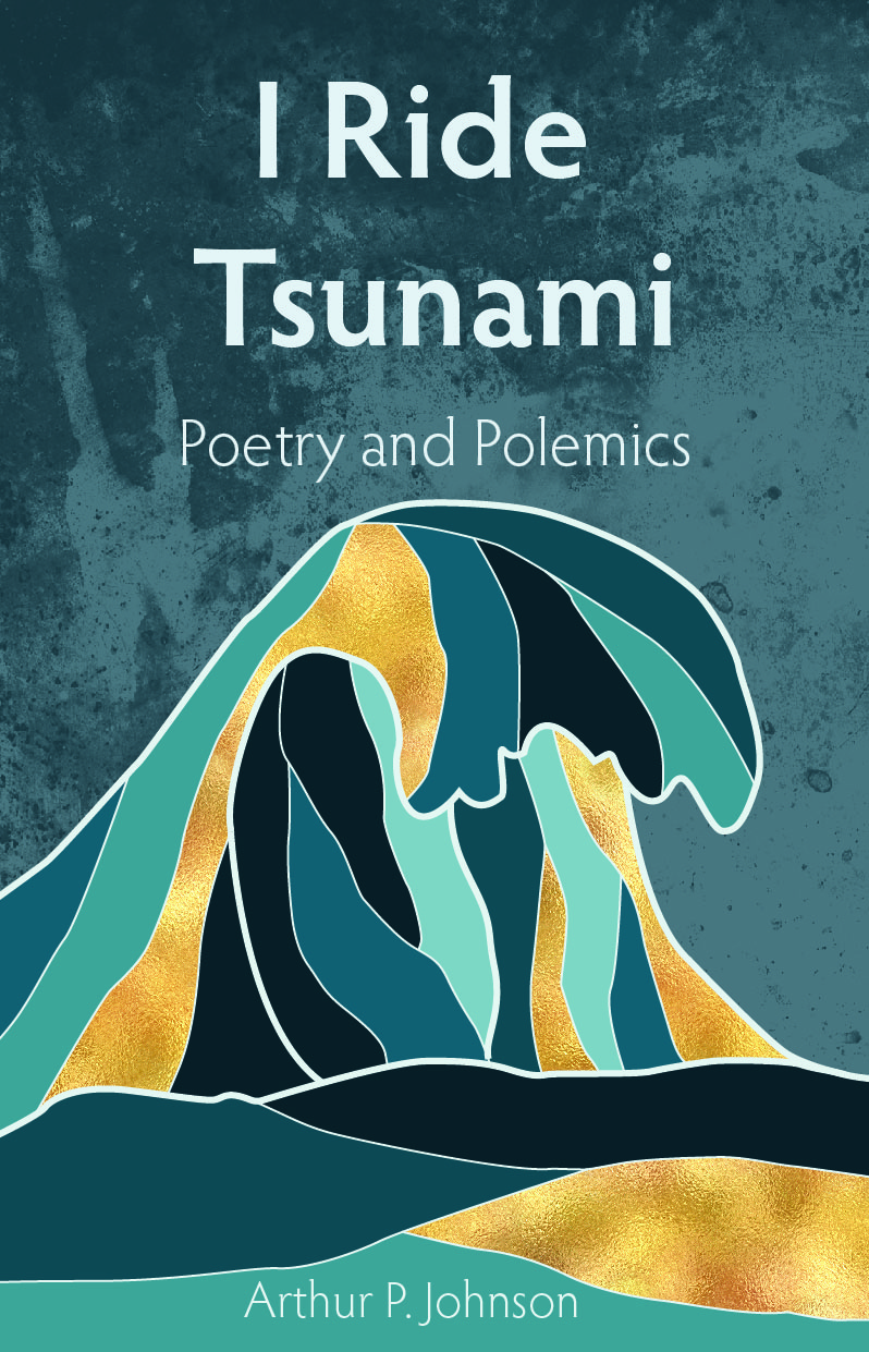 """Front cover of """"I Ride Tsunami"""" Poetry book"""